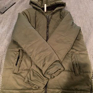Fabletics olive green puffer jacket